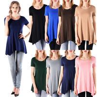 Soft Stretchy Plus Size Women T-Shirt Basic Short Sleeve Flowy Loose Top S-3XL
