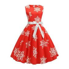 Girl Christmas Women Xmas Dress Print Casual Swing Halloween Evening Party Dress