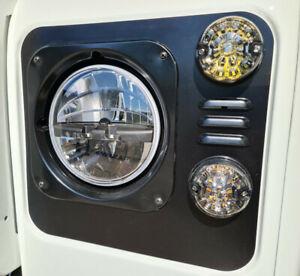 Land Rover Defender Headlight Surrounds - Pair - Satin Black - Louvres