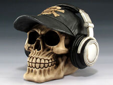 Skull with baseball Cap & Headphones Figurine Statue Skeleton Halloween