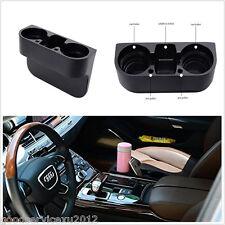 In-Car Seat Seam Wedge Dual-Cup Drink Holder Mount Stand Storage Organizer Black