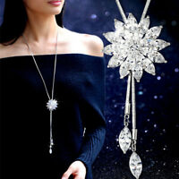 Cute Women Necklace Rhinestone Snowflake Pendant Long Chain Sweater Fashion AT U