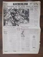 DAILY MAIL WWII NEWSPAPER SEPTEMBER 28th 1944 EPIC BATTLE FOR ARNHEM