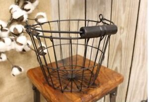 "Primitive Style Black Wire Basket Egg Chicken Metal Wood Handle Gathering 6""X8"""