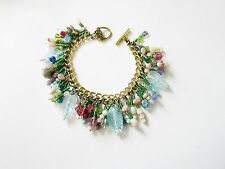 Vintage BEAD Charm BRACELET-Pastels and GOLD-Handcrafted FLOWER & Leaf CHARMS ++