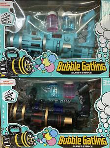 Large Bubble Gatling Gun 2 Colours Bubble Solution UK Stock Fast Free Post UK