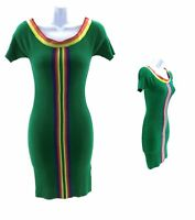 Derek Heart Off The Shoulder Dress Juniors Bodycon Green with Multi Color Trim
