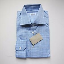 J-1984958 New Brioni Blue Plaid Oxford Dress Shirt Size 41 US 16