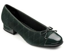 Hotter Marilyn Dark Green Suede & Patent Leather Diamond Stitch Shoes RRP £75.00