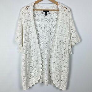 Tunic Shrug Cardigan Sweater White Womens 0X 1X 2X 3X NEW Crochet Style/&Co Z413