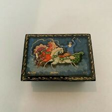 Vintage Russian Hand Painted Lacquer Wood Trinket Box Signed