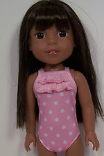 """Pink Polka Dot Swimsuit Doll Clothes For 14"""" American Girl Wellie Wishers (Debs)"""