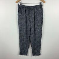 Uniqlo Womens Pants Size Medium Black White Elastic Waist Drawstring