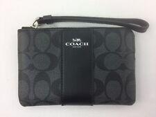 New Authentic Coach F58035 PVC Corner Zip Wristlet,Black Smoke/Black