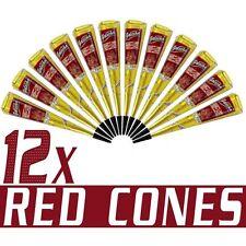 12 X QUALITY HERBAL GOLECHA DARK RED COLOR HENNA CONES +FREE 1 TATTOO STICKER