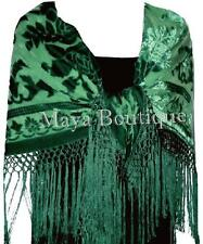Emerald Green Silk Burnout Velvet Piano Shawl Wrap Fringed Scarf Maya Matazaro