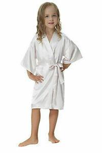 New Children Kimono Robe Silk Satin Flower Girls Dress Nightwear Gown Wedding