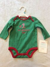 Carters Christmas Bodysuit 6 Months Green Red baby Wiggle #1 On Santas List NWT
