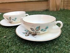 Myott Staffordshire England Soup Bowls Two Handles With Saucer