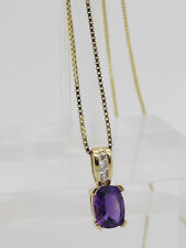 10k Yellow Gold Oval Purple Spinel Round White Stone Accent Pendant Necklace 18""