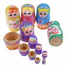 5Pcs Russian Nesting Dolls Hand Painted Wooden Matryoshka Babushka Toy Gift