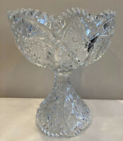 """EAPG Clear Glass Heavy Punch Bowl Serving Dish Large Pedestal Diamonds 10""""x8.5"""""""