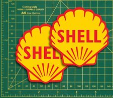 """Classic Shell aceites 3"""" - 8 cm 2 Pack Shell Race & Rally Coche Super Bike Pegatinas."""