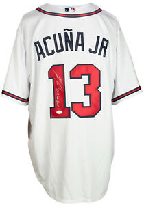 Ronald Acuna Jr. Signed Atlanta Braves White Nike Baseball Jersey NL Roy JSA