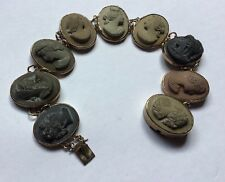 Victorian Carved Lava Cameo and Gold Gilt Bracelet