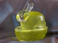 Decorated Yellow Easter Egg Covered Dish Bunny Rabbit Lid Top Candy Gift Treat