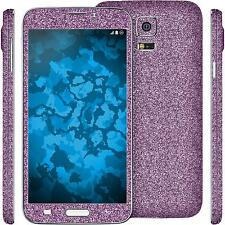 2 x glitter foil set for Samsung Galaxy S5 Neo purple PhoneNatic protection film