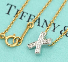 Tiffany & Co. Kiss Cross Diamond Pendant Necklace 18K Gold & PT950