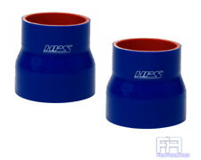 """2X HPS Coupler Tube Pipe 1"""" > 1-3/4"""" 25mm > 45mm Silicone Reducer Hose BLUE"""