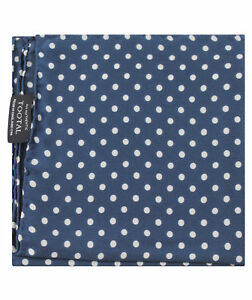 Tootal Navy Blue Large Polka Dot Print Silk Pocket Square