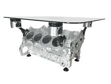 V8 Engine Block Coffee Table - CHROME AND BLACK