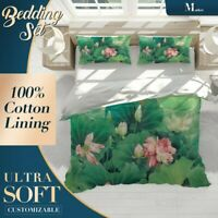 Lotus Floral Flowers Green Quilt Cover King Bed Single Double Queen Size