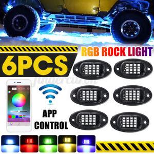 6PCS RGB LED Wireless APP bluetooth Car Rock Light Under Body Car OffRoad Truck