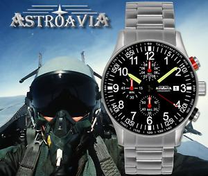 ASTROAVIA Mens Watch Steel Strap Aviator Military Pilot Japan Quartz Chronograph