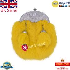 Child's Kilt Sporran/Boy,Baby Kilt Sporrans Yellow Rabbit Fur Thistle Crest/Kilt