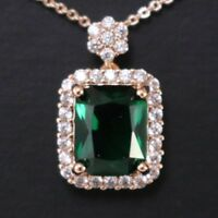 Green Emerald Round Diamond Halo Pendant Necklace 14K Gold Plated Jewelry