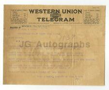 Crime Notice Telegram - Burglary - Marysville, California - 1921