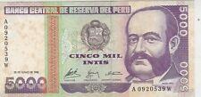 Mazuma *F108 Peru UNC Note 5000 Intis June 1988 A0920539W UNC Foxing