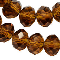 20 TSCHECHISCHE Kristall Perlen 8mm Glasschliff Braun TOPAZ  Rondell X60