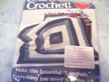 "Red Heart ""Lapghan Learn To Crochet"" Crochet Kit 2 Blues And Aran"