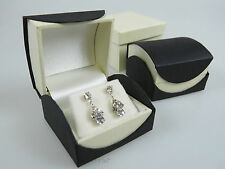 Luxury Black With Ivory Trim Earring Jewellery Display Box Case- On Trend Design