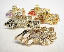 Gold acrylic metal looking hair claw clamp clips with jewels and crystals