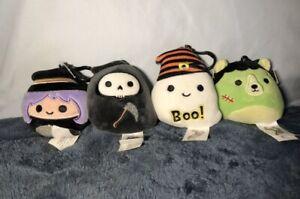 """Squishmallow Otto the 3.5"""" Inch Grim Reaper Halloween All 4 Clips! Very Rare!"""