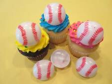 12 Baseball 3D Rings Cupcake Toppers Cake Decorations Party Favors