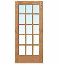 15 Lite Red Oak Clear Tempred Glass Stain Grade Solid Interior Wood French Doors