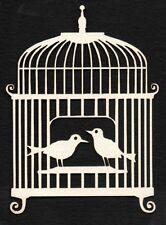DIE cut uccelli in gabbia (Avorio) x 6 per Cardmaking, Matrimonio, scrapbooking, artigianato
